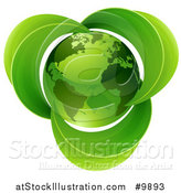 Vector Illustration of a 3d Shiny Green Earth Globe with Leaves by AtStockIllustration