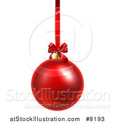 Vector Illustration of a 3d Shiny Red Christmas Bauble Ornament Hanging from a Ribbon by AtStockIllustration