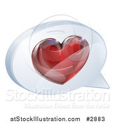 Vector Illustration of a 3d Shiny Red Heart in a Chat Balloon by AtStockIllustration