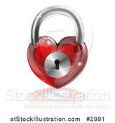 Vector Illustration of a 3d Shiny Red Heart Padlock and Reflection by AtStockIllustration