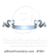Vector Illustration of a 3d Shiny Silver Metal Scroll Ribbon Banner by AtStockIllustration