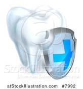 Vector Illustration of a 3d Shiny White Tooth with a Protective Dental Shield by AtStockIllustration