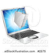 Vector Illustration of a 3d Shopping Bag Floating over a Laptop Computer by AtStockIllustration
