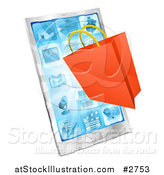 Vector Illustration of a 3d Shopping Bag over a Smartphone by AtStockIllustration
