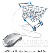 Vector Illustration of a 3d Shopping Cart and Connected Computer Mouse by AtStockIllustration