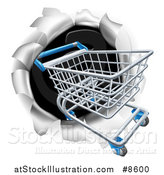Vector Illustration of a 3d Shopping Cart Breaking Through a Wall by AtStockIllustration