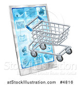 Vector Illustration of a 3d Shopping Cart Emerging from a Smart Phone by AtStockIllustration