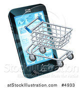 Vector Illustration of a 3d Shopping Cart Emerging from a Smart Phone Screen by AtStockIllustration