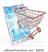 Vector Illustration of a 3d Shopping Cart Emerging from a Touch Screen Smart Phone by AtStockIllustration