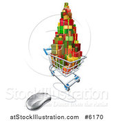 Vector Illustration of a 3d Shopping Cart Filled with Christmas Presents Connected to a Computer Mouse by AtStockIllustration