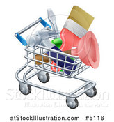Vector Illustration of a 3d Shopping Cart Full of DIY Tools by AtStockIllustration