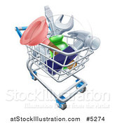 Vector Illustration of a 3d Shopping Cart Full of Tools by AtStockIllustration
