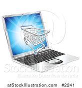 Vector Illustration of a 3d Shopping Cart on a Laptop Screen by AtStockIllustration