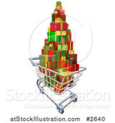 Vector Illustration of a 3d Shopping Cart with a Pile of Wrapped Christmas Presents by AtStockIllustration