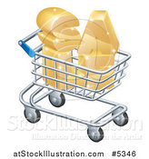 Vector Illustration of a 3d Shopping Cart with Golden SALE Inside by AtStockIllustration