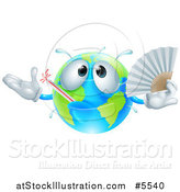 Vector Illustration of a 3d Sick Earth Globe Waving a Fan by AtStockIllustration