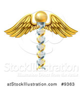 Vector Illustration of a 3d Silver and Gold Dna Strand Winged Medical Caduceus by AtStockIllustration