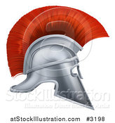Vector Illustration of a 3d Silver and Red Corinthian Trojan Helmet by AtStockIllustration