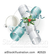 Vector Illustration of a 3d Silver Bauble and Christmas Crackers with Holly by AtStockIllustration