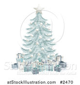 Vector Illustration of a 3d Silver Blue Christmas Tree with Gift Boxes by AtStockIllustration