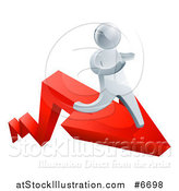 Vector Illustration of a 3d Silver Business Man Running on a Red Arrow by AtStockIllustration