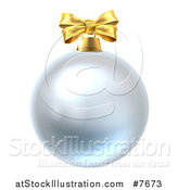 Vector Illustration of a 3d Silver Christmas Bauble Ornament with a Gold Bow by AtStockIllustration