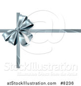 Vector Illustration of a 3d Silver Christmas, Birthday or Other Holiday Gift Bow and Ribbon on White by AtStockIllustration