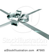 Vector Illustration of a 3d Silver Christmas, Birthday or Other Holiday Gift Bow and Ribbon over Shaded White by AtStockIllustration