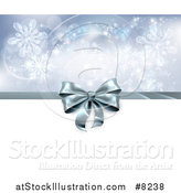 Vector Illustration of a 3d Silver Christmas, Birthday or Other Holiday Gift Bow and Ribbon over Snowflakes and White by AtStockIllustration
