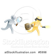 Vector Illustration of a 3d Silver Detective Chasing a Gold Robber with a Magnifying Glass by AtStockIllustration
