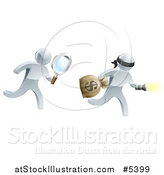 Vector Illustration of a 3d Silver Detective Chasing a Robber with a Magnifying Glass by AtStockIllustration