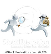 Vector Illustration of a 3d Silver Detective Chasing a Thief with a Magnifying Glass by AtStockIllustration