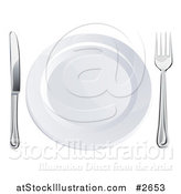 Vector Illustration of a 3d Silver Fork and Butter Knife by a White Plate by AtStockIllustration