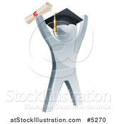 Vector Illustration of a 3d Silver Graduate Cheering by AtStockIllustration