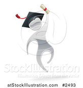 Vector Illustration of a 3d Silver Graduate Jumping with a Diploma by AtStockIllustration