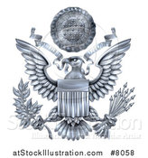 Vector Illustration of a 3d Silver Great Seal of the United States with a Bald Eagle Holding an Olive Branch and Arrows, an American Flag Body and E Pluribus Unum Scroll and Stars over His Head by AtStockIllustration