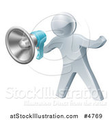 Vector Illustration of a 3d Silver Man Announcing with a Megaphone by AtStockIllustration