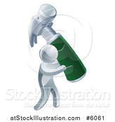 Vector Illustration of a 3d Silver Man Carrying a Giant Green Handled Hammer by AtStockIllustration