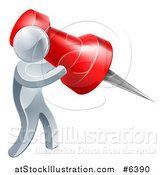 Vector Illustration of a 3d Silver Man Carrying a Giant Red Pin by AtStockIllustration