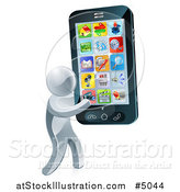 Vector Illustration of a 3d Silver Man Carrying a Large Smart Phone by AtStockIllustration