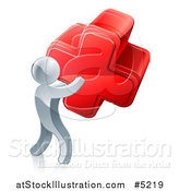 Vector Illustration of a 3d Silver Man Carrying a Red Cross by AtStockIllustration