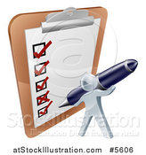 Vector Illustration of a 3d Silver Man Checking off a List with a Pen on a Giant Clipboard by AtStockIllustration