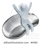 Vector Illustration of a 3d Silver Man Cheering and Sitting on a Computer Mouse by AtStockIllustration