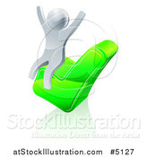 Vector Illustration of a 3d Silver Man Cheering on a Check Mark by AtStockIllustration