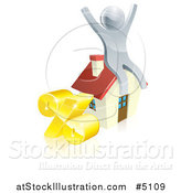 Vector Illustration of a 3d Silver Man Cheering on a House by a Percent Symbol by AtStockIllustration