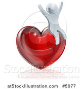 Vector Illustration of a 3d Silver Man Cheering on a Red Heart by AtStockIllustration