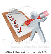 Vector Illustration of a 3d Silver Man Filling out a List Form on a Clip Board by AtStockIllustration
