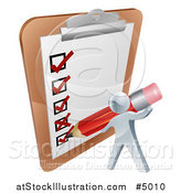 Vector Illustration of a 3d Silver Man Filling out a Survey on a Giant Clipboard by AtStockIllustration