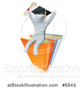 Vector Illustration of a 3d Silver Man Graduate Cheering, Holding a Diploma and Sitting on a Stack of Books by AtStockIllustration