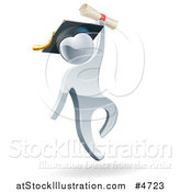 Vector Illustration of a 3d Silver Man Graduate Jumping with a Diploma by AtStockIllustration